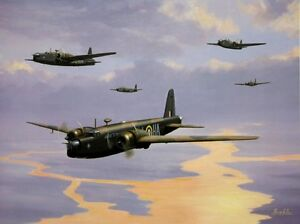 BEAUTIFUL AVIATION PRINT / PICTURE / PAINTING OF WELLINGTON BOMBERS