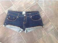 Ladies designer River island denim shorts hot pants size 10