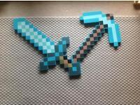Minecraft diamond foam sword and pic axe