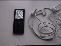 BLACK SLIMLINE MP4 PLAYER,NECHARGER,NEW EARPHONES