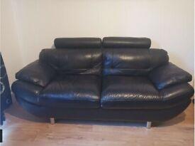 2 Black 2 Seater Comfortable Leather Sofa