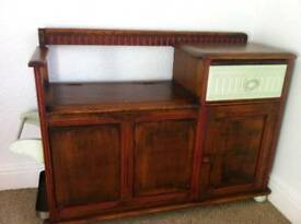 Old antique telephone entrance cabinet cupboard entrance hall bench chest of draws drawers
