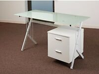Office desks - Tempered Glass - 2 months old - Very smart compact, perfect for home office use