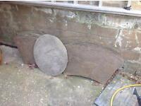 Round sand stone patio. Raj
