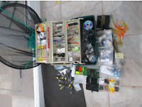 Sea fishing tackle and equipment in plano box plus drop net