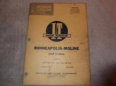 Minneapolis Moline Ub Uts Special 5 Star M5 G Tractor I T Shop Service Manual