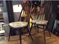 ERCOL CHAIRS WITH SEAT PADS CARVER & PLAIN IN ELM