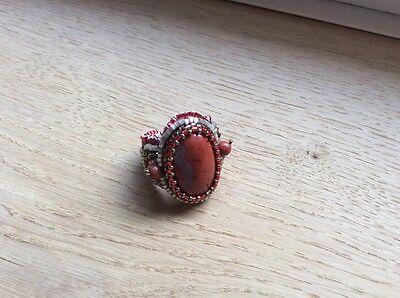 Ring mit Halbedelsteinen Jaspis Handgefertigt Unikat Einzelstück Design