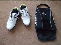 Dunlop BioNimetic Golf Shoes. Size 8 (41). White / Green. Excellent Condition. With carry bag.
