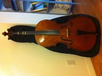 3/4 cello with bow, case and rosin