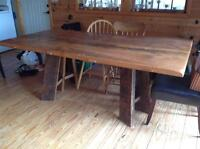 reclaimed board Amish custom made dining table