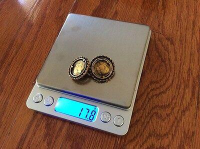 Vtg Ormolu Gold Color Solid Brass Brutalist Greek Goddess Coin Clipon Earrings