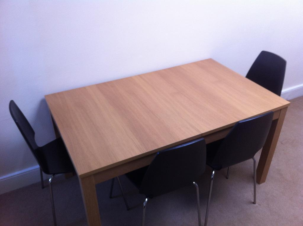Kitchen table extendable with 4 chairs seats up to 10 for 10 people table