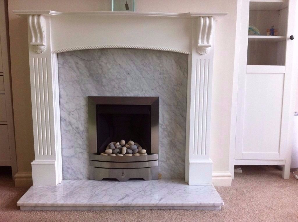 Gas Fire White Wooden Surround Marble Hearth Back Panel Modern Brushed Steel Grey Pebbles
