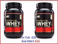 Optimum Nutrition Gold Standard 100% Whey Protein 2LB | Different flavours | £20 per tub or £5 off