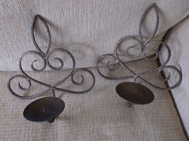 Pair of Attractive Burnished Brass Wall Candle Sconces - Excellent Condition