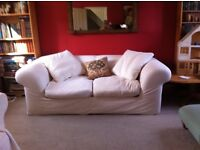 """Habitat sofa. 7' long by 41"""" wide. Comes in 2 pieces. Removable cover. Lightweight canvas effect"""