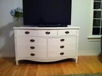 Solid wood, curved, antique white dresser