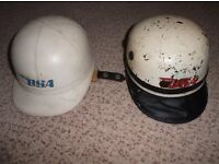 2 BSA logo classic motorcycle helmets, Everoak and The Manx by J Compton