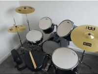 ***REDUCED TO SELL*** Drum Kit with Meinl cymbals, double foot pedal and back supported throne