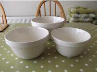 NEW Three (3) MASONS CASH White China Mixing Bowls/Basins S/M/L - collect from Gosport Hampshire