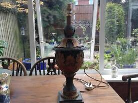 Large green and gold table lamp