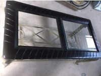 COFFEE TABLE, IN BLACK, GLASS TOP, L120 x D60cm