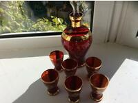 Murano glass decanter and six glasses
