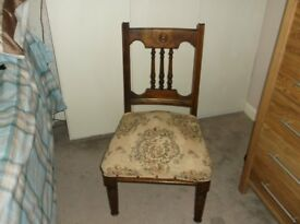 Edwardian dining chair with upholstered seat