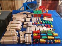 WOODEN TRAIN TRACK SET...BRIO etc..130+ PIECES inc...SWING BRIDGE & 2 OTHERS..STATION & LOTS MORE
