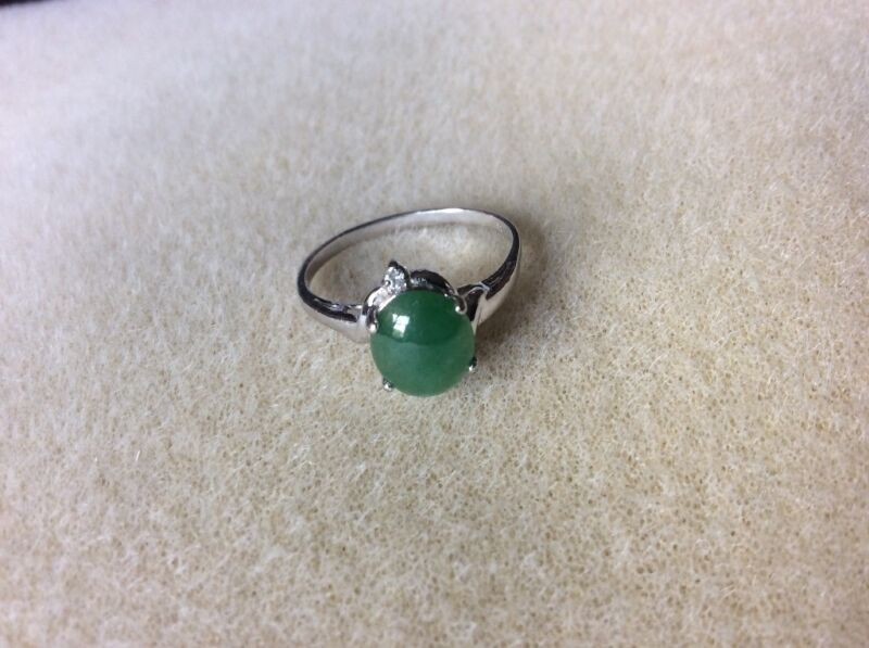 Asian Jade & Diamond Ring Size 7.5/24K white gold Pre-owned