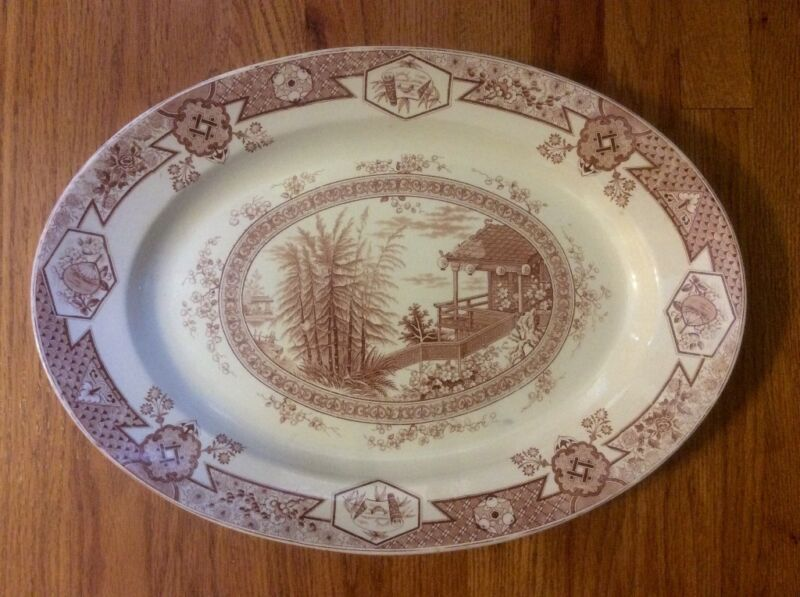 RARE Antique Large IRONSTONE OVAL PLATTER BROWN TRANSFERWARE Floral Chinoiserie