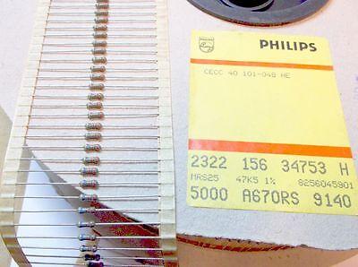 Phillips Mrs25 47.5k 14 Watt 1 Metal Film Resistors 1000pcs