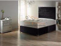 LUXURY CRUSHED VELVET DIVAN BED + 24CM MEMORY FOAM MATTRESS + HEADBOARD - 3FT 4FT 4FT6 DOUBLE 5FT