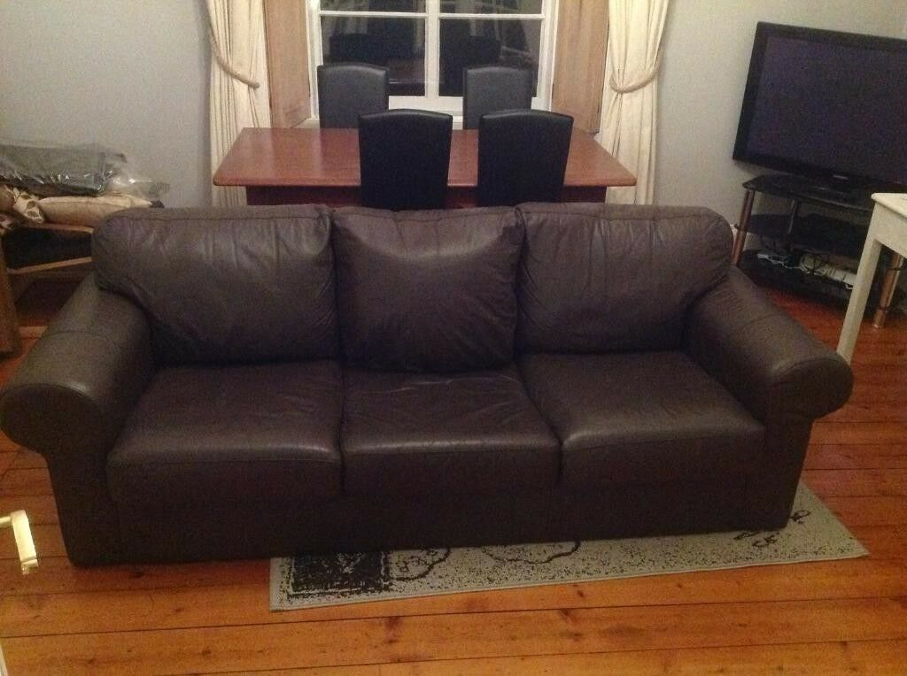 IKEA 3 (Three) Seater Real Brown Leather Sofa Settee Couch Very Good Condition