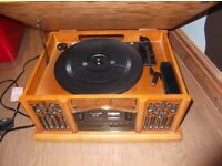 Record turntable with CD and Cassette player