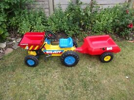 dumper track peddle car + trailer