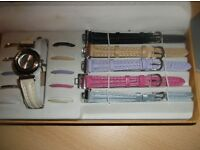 LADIES WATCH WITH 6 INTER-CHANGEABLE STRAPS AND 10 BESELS