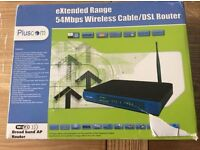 Pluscom Extended Range 54Mbps Wireless Cable/DSL Router in Box