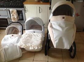 Aquarius 3 in 1 Turran Pram on Chrome Chassis In White Leatherette with Car Seat and changing bag