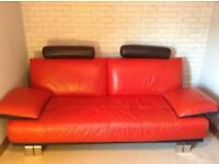 Red leather 3 seater sofa