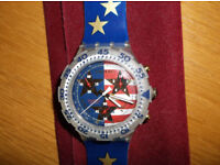 Collectable Swatch Aquachrono - Watch - American Dream, 1995 - Never Worn - Needs New Battery