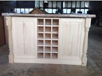 Solid Pine Island Unit with Traditional Turned Corner Profiles Can painted to colour of your choice