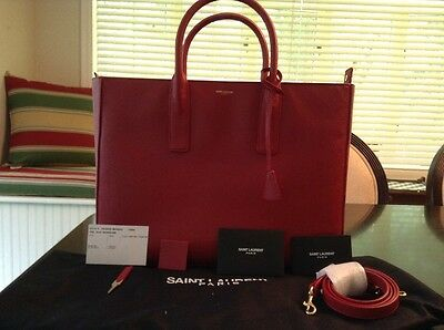 Saint Laurent Classic Borsa Tote Bag Leather Color Red  Retails for 2890.00