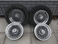 Classic Ford chrome wire wheels BOLT ON Consul Capri Cortina Corsair Anglia KIT CAR Sunbeam Alpine