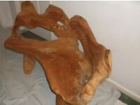 """Teak root bench sculptured hand finished with wonderful eagle on the back rest size 45""""x 17"""" 16"""""""