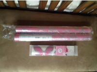 KIDS pink & silver butterflies 2x wallpaper rolls & matching stickers