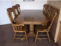 Solid Oak dining table and 6 chairs set