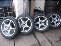 """FRESHLY REFURBD 17"""" WOLFRACE ALLOYS WITH 4 NEW MATCHING CONTIS ALL ROUND (4 STUD MULTIFIT)"""