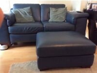 2 dark blue leather sofas and pouffe for sale - great condition